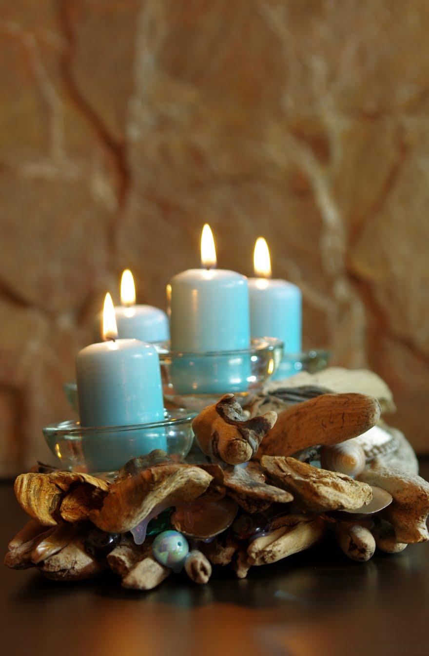 Морской декор свечей