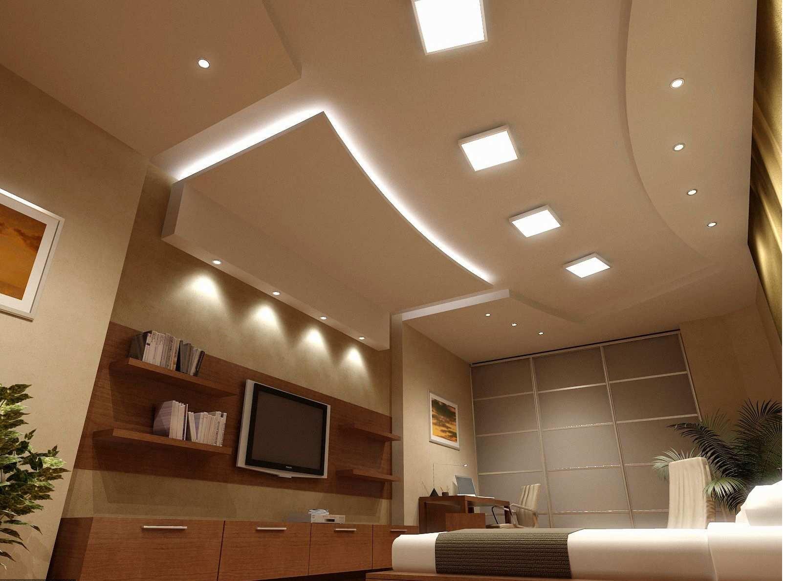 Комбинированный потолок со светильниками