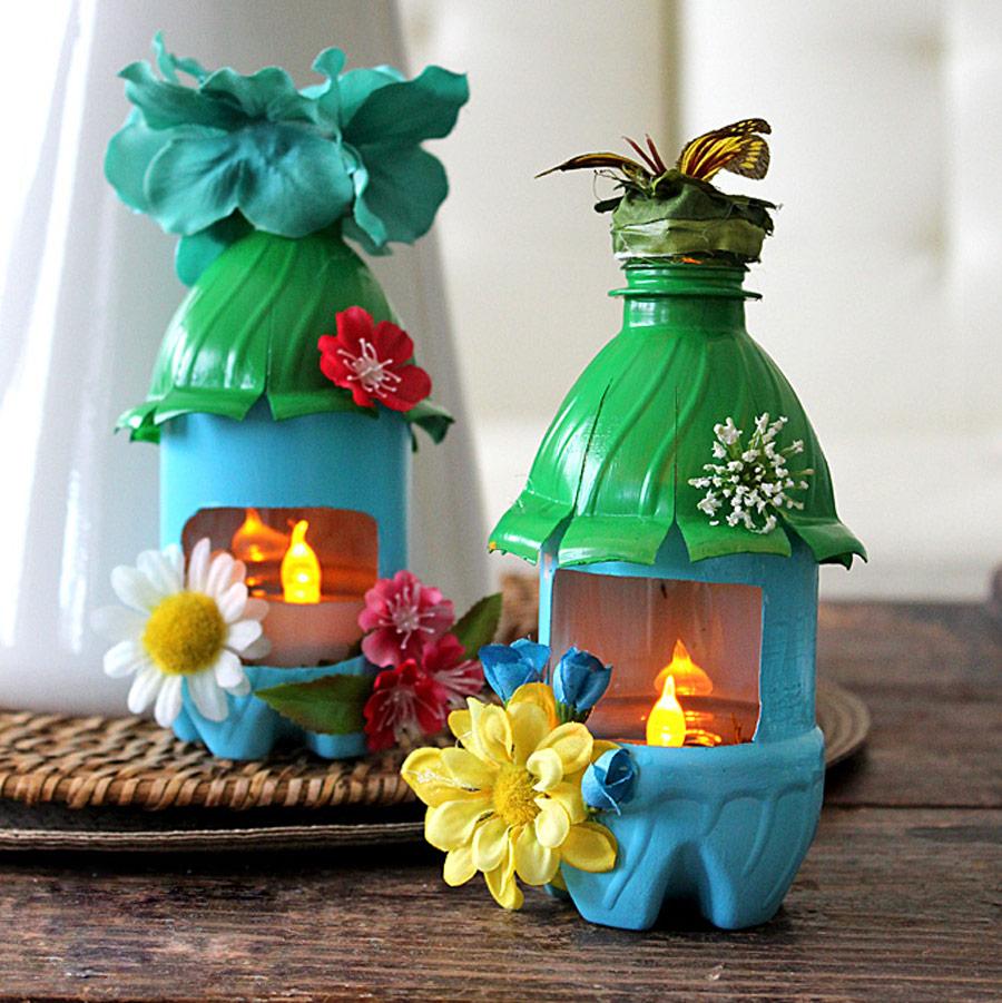 Декоративные светильники из пластиковых бутылок