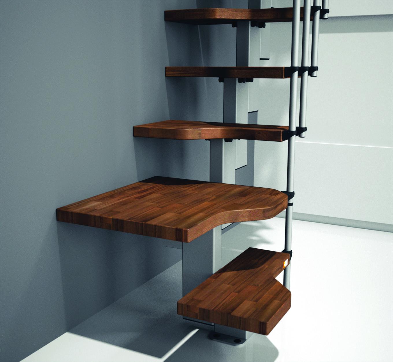 Лестница с конструкцией гусиного шага из темного дерева