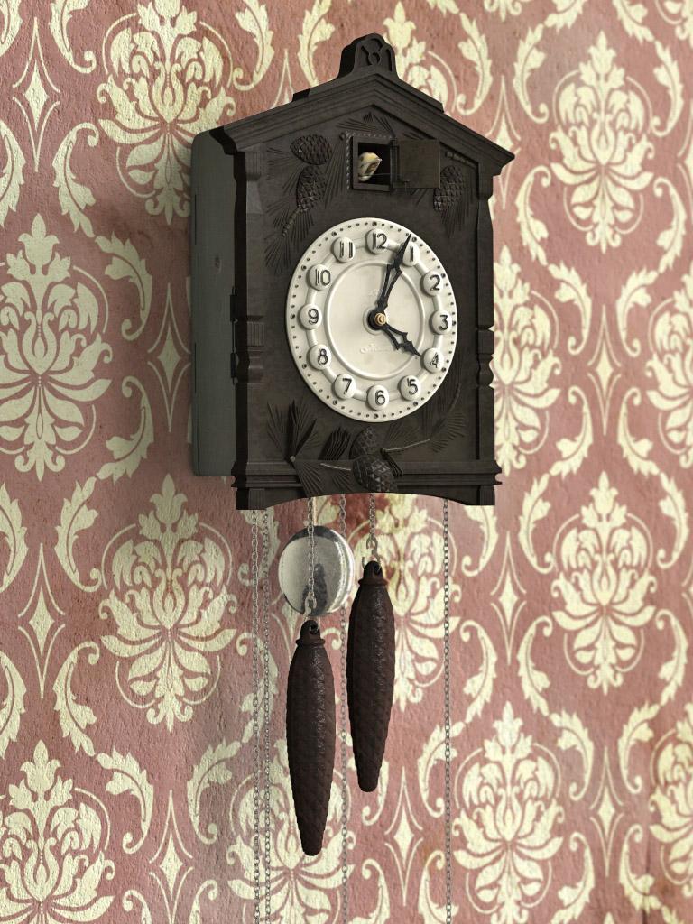 Темные часы с кукушкой
