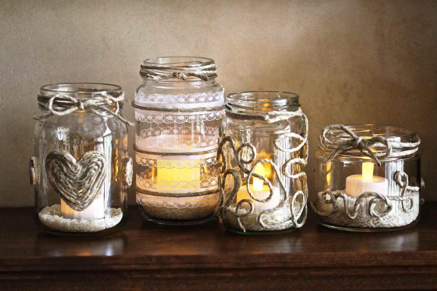 Декор свечи тесьмой