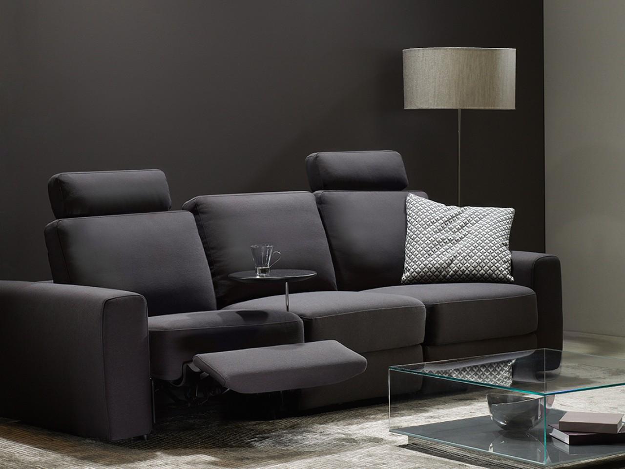 Черный тканевый диван-трансформер