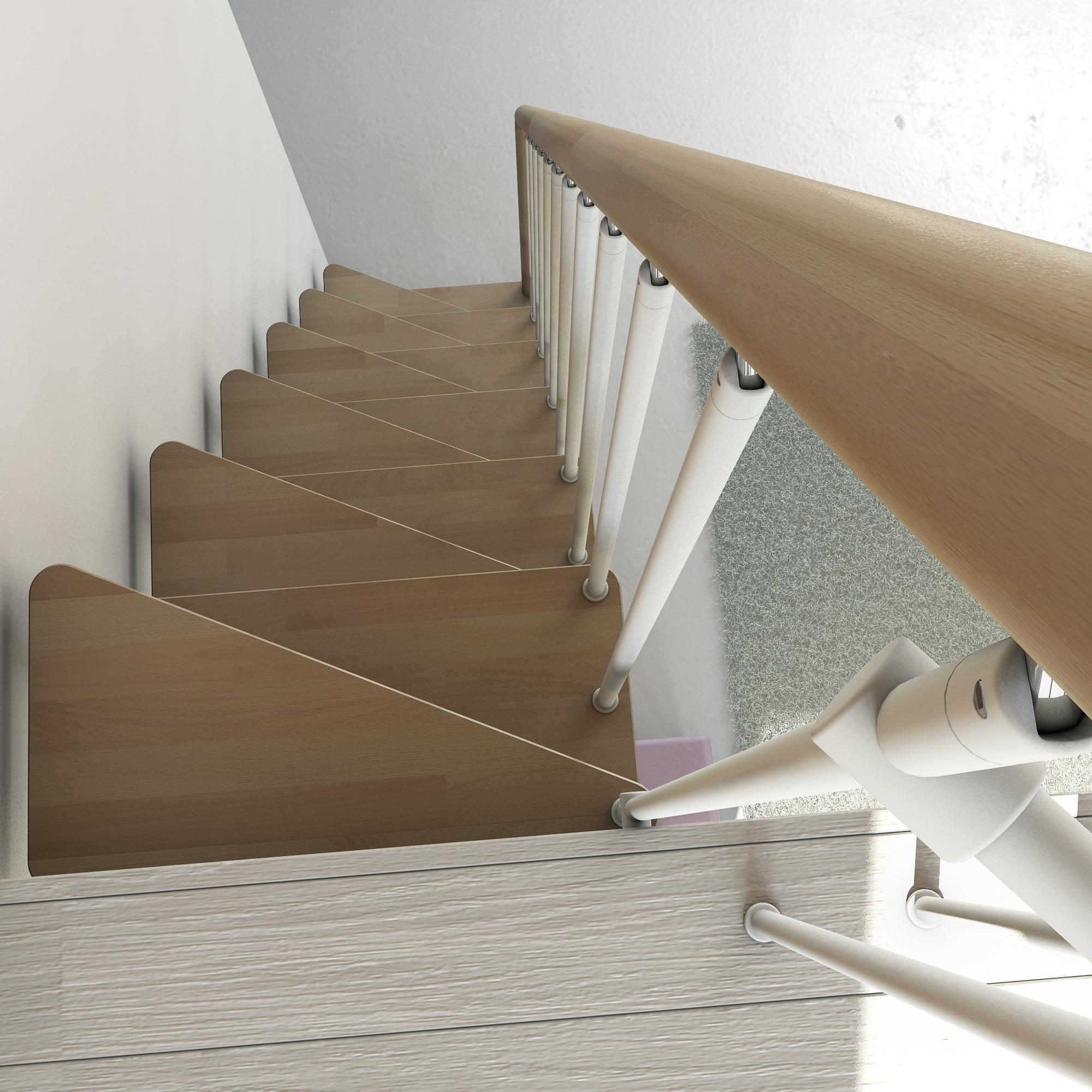 Лестница с конструкцией гусиного шага с треугольными ступенями