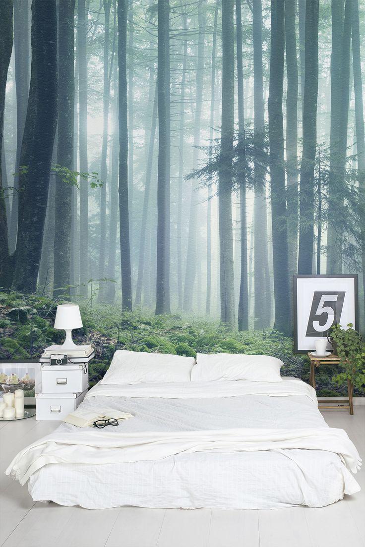 """Фотообои """"туман"""" над кроватью в интерьере спальни"""