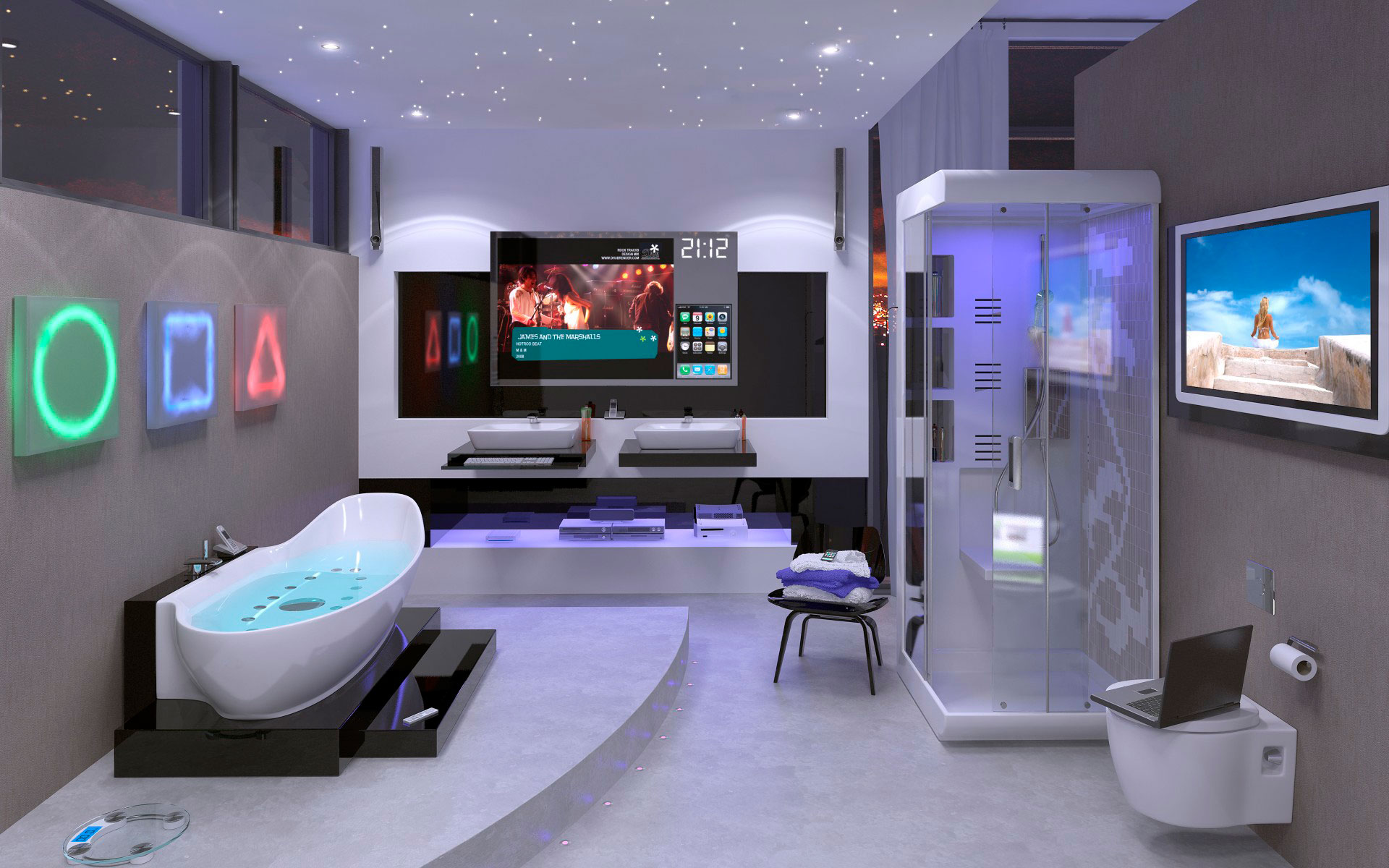 Телевизор с подключением к умному дому в ванной комнате