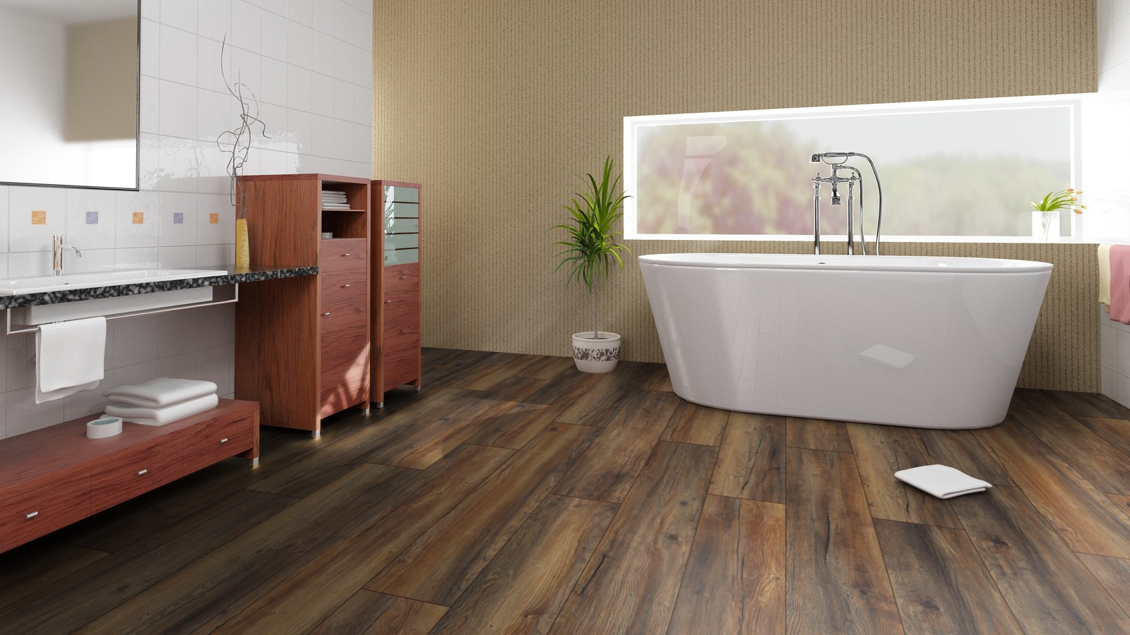 Водостойкий ламинат в ванной