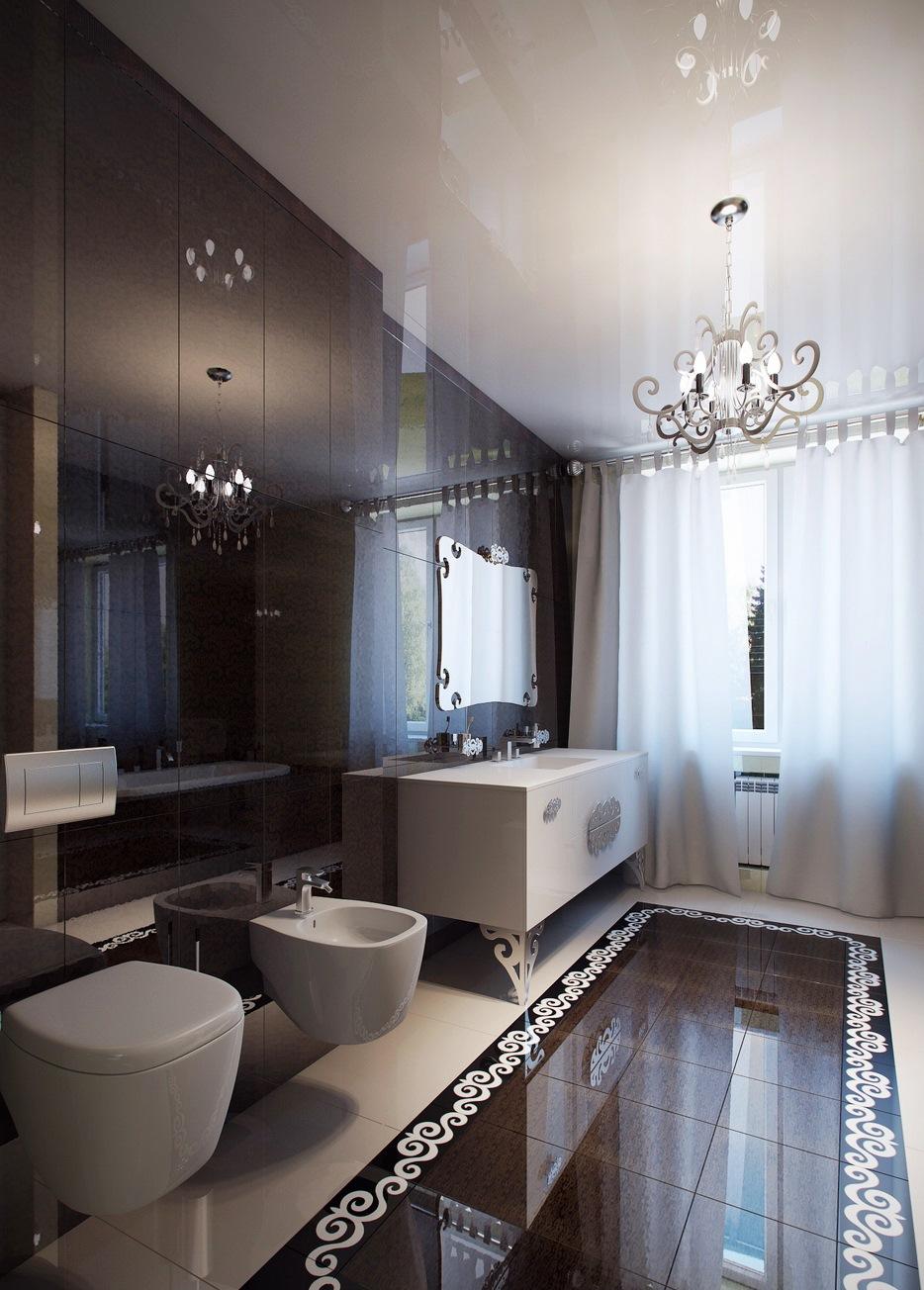 Глянцевый пол в ванной