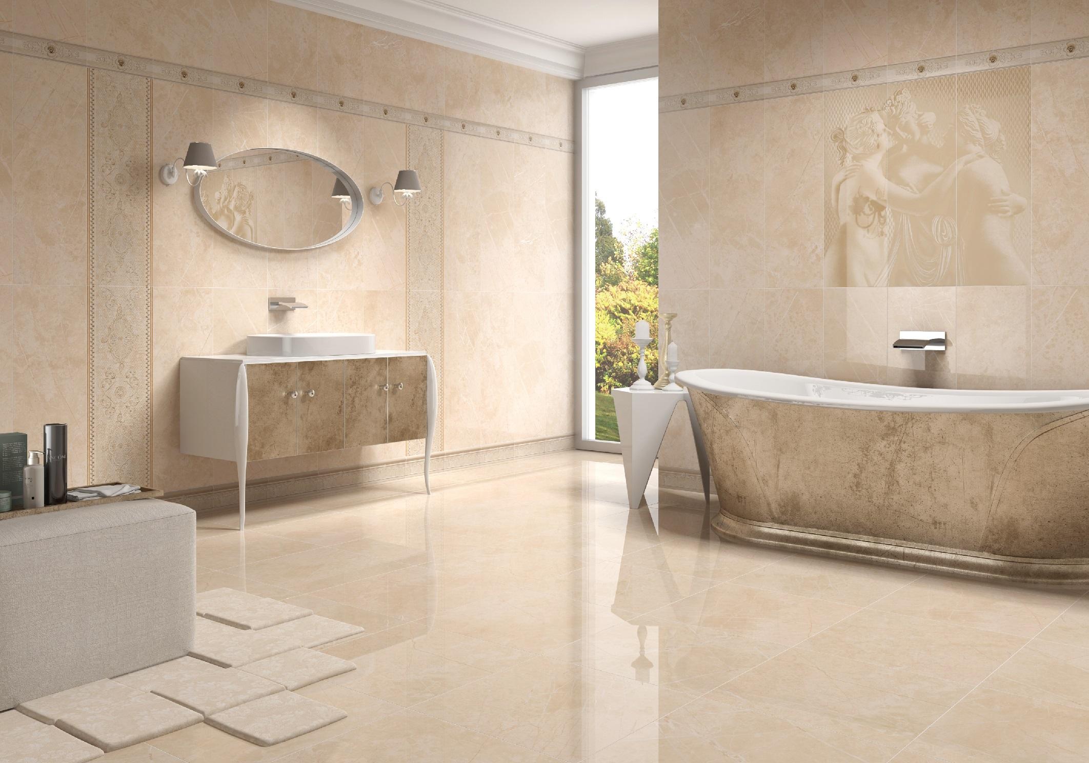 Глянцевый пол в интерьере ванной