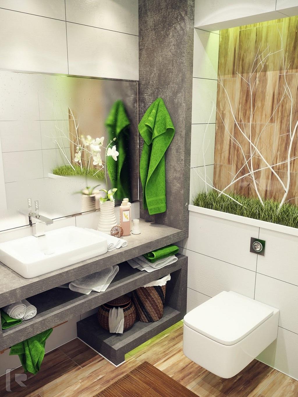 Трава в интерьере ванной