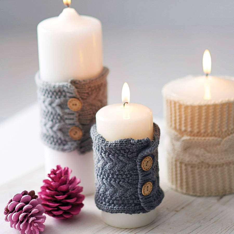 Вязаный декор свечи