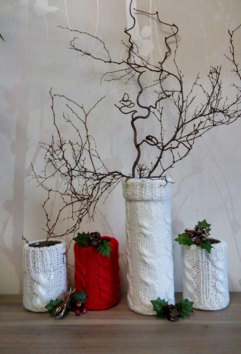 Вязаный декор вазы