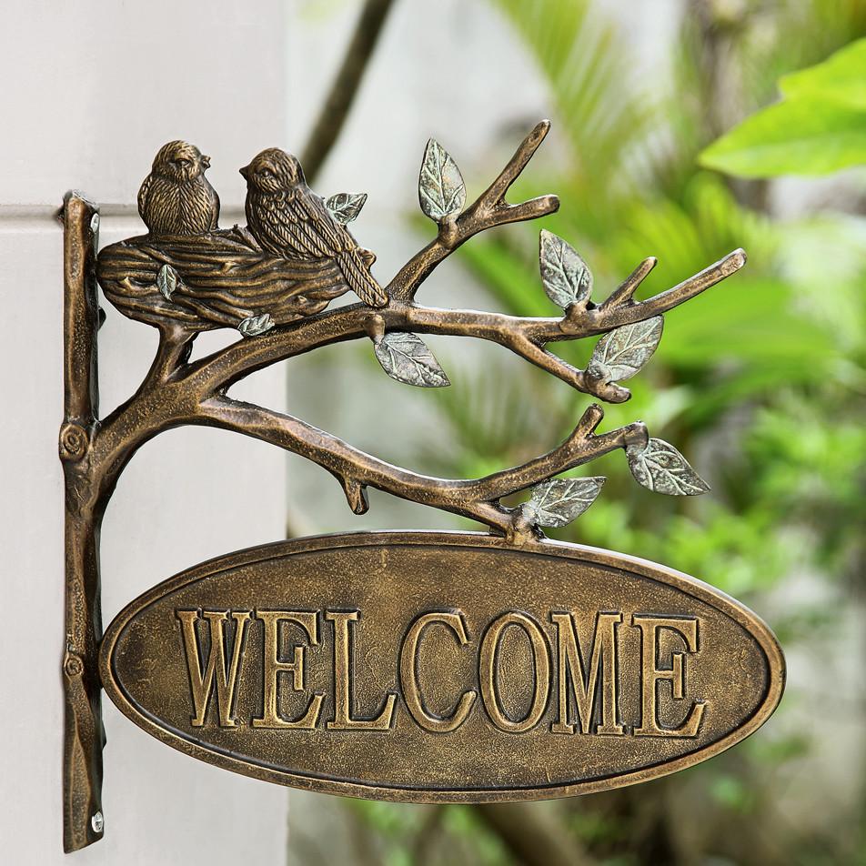 Декоративная садовая вывеска из металла
