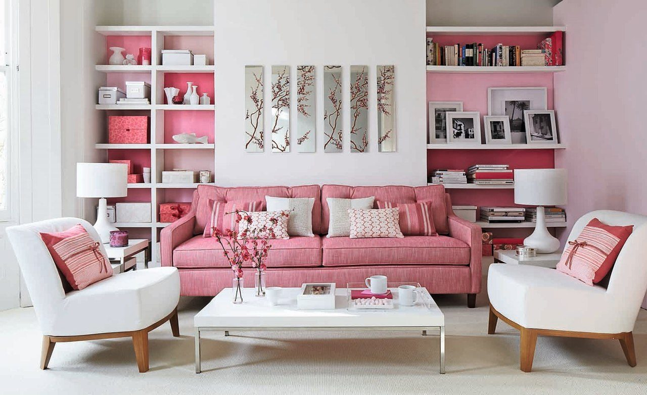 Розовый диван в японском стиле