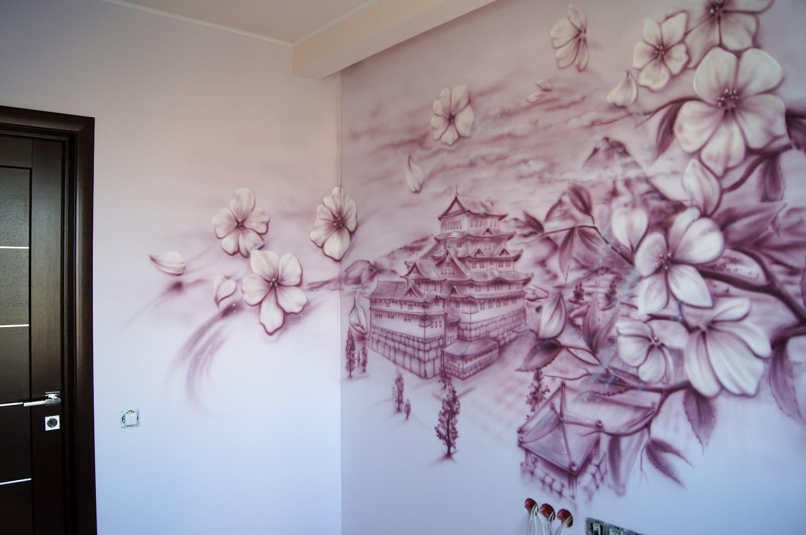 Рисунок на стене в японском стиле