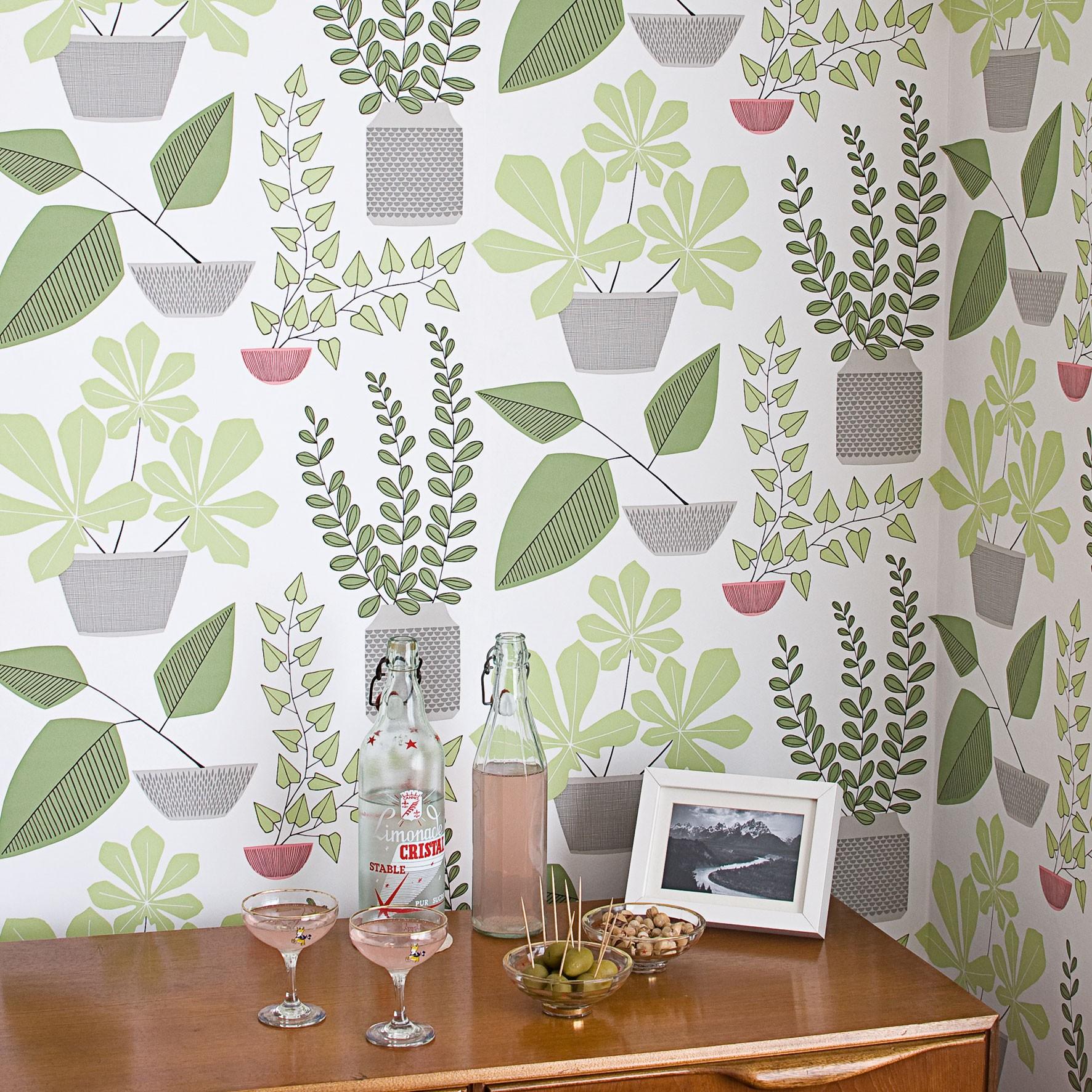Оливковые обои с рисунком растений