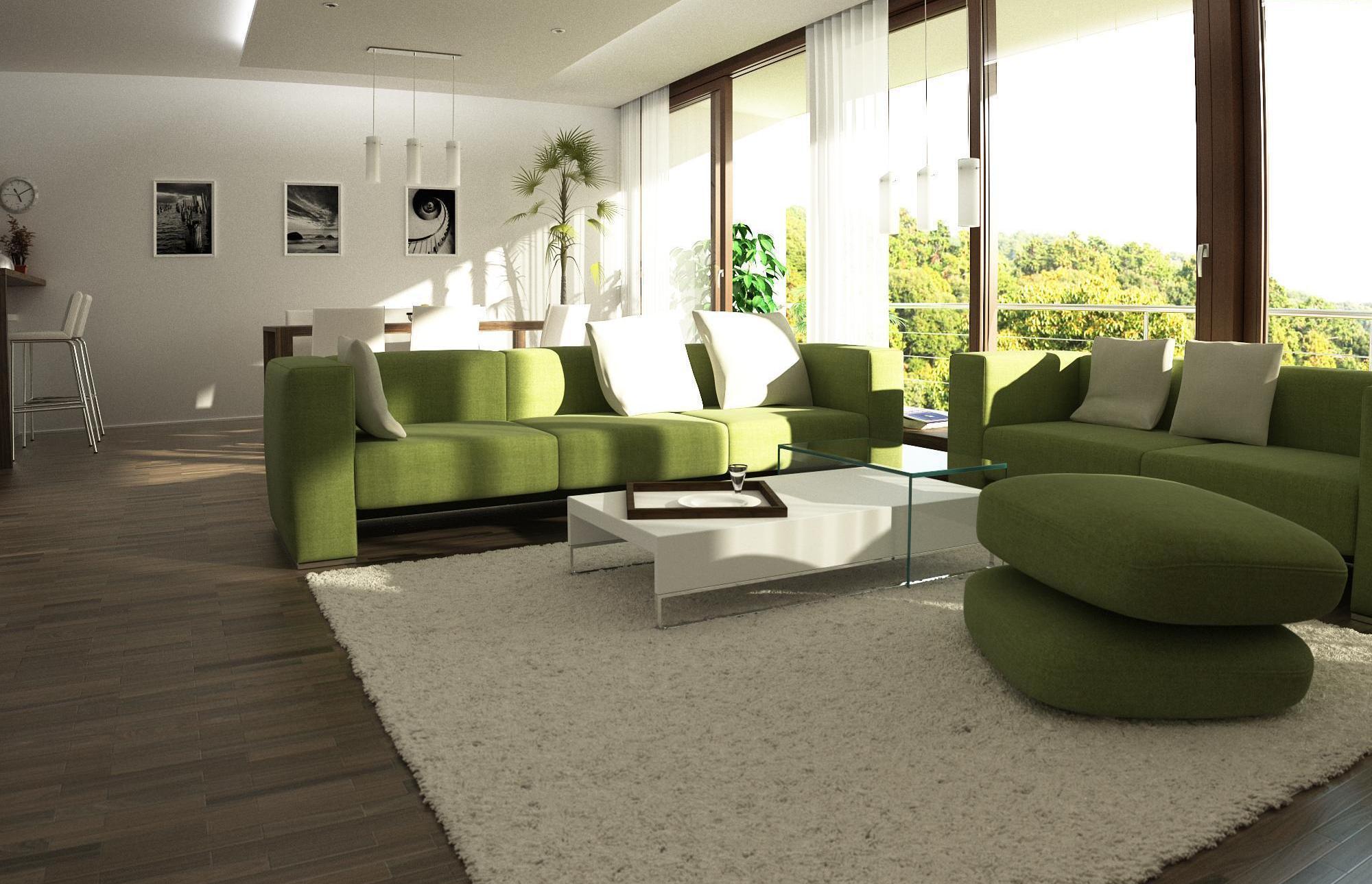 Зеленый тканевый диван
