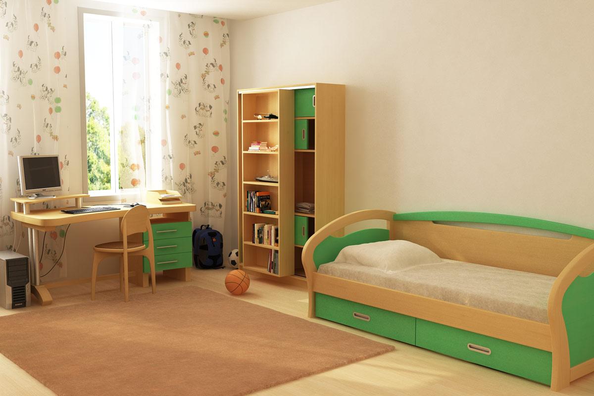 Деревянная детская мебель с зелеными вставками