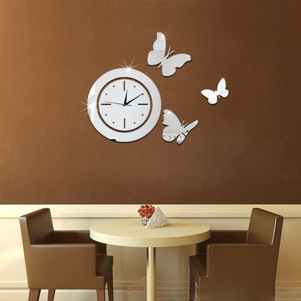 Декоративные часы из зеркала