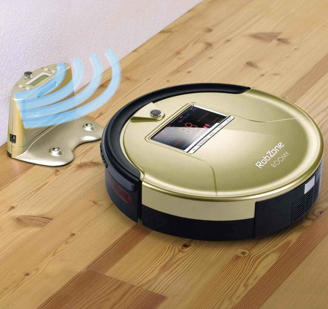 Робот-пылесос в золотом дизайне