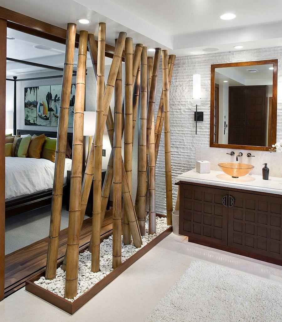 Перегородка из бамбука в ванной