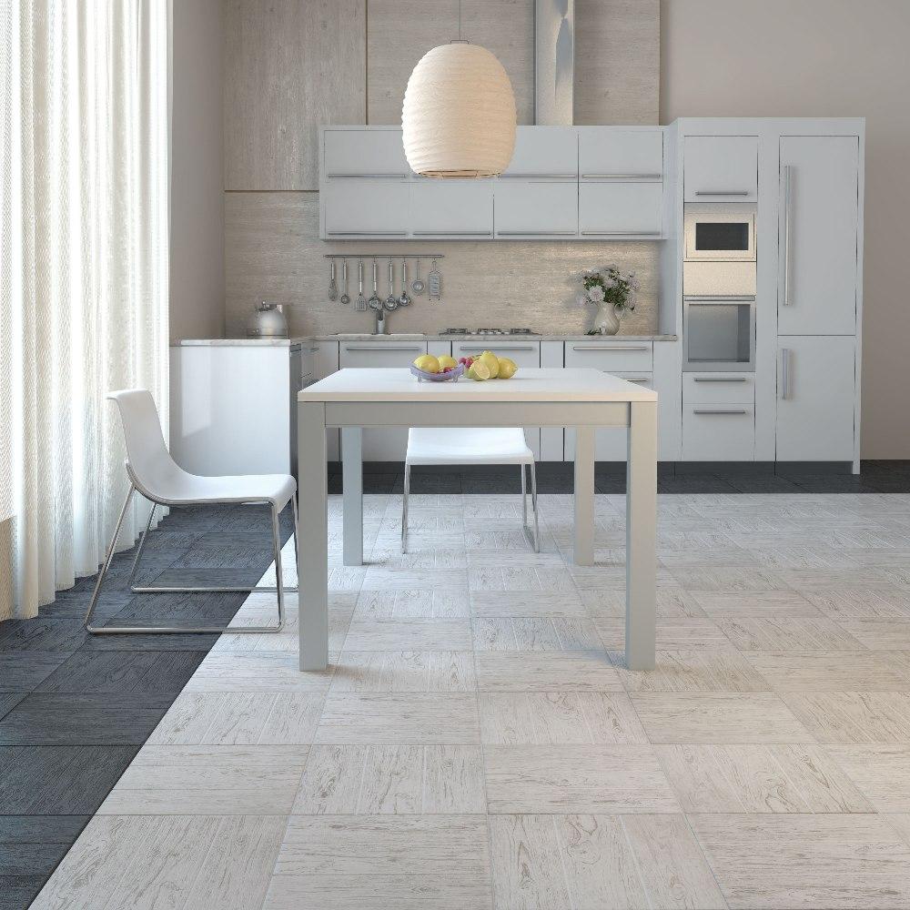 Белая плитка из керамогранита на кухне
