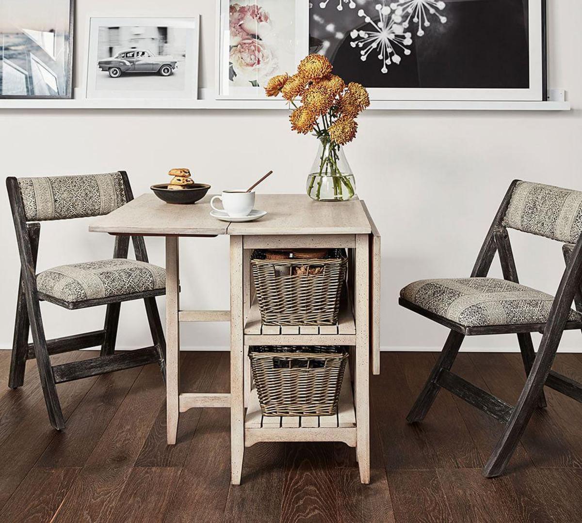 Откидной стол из беленого дуба