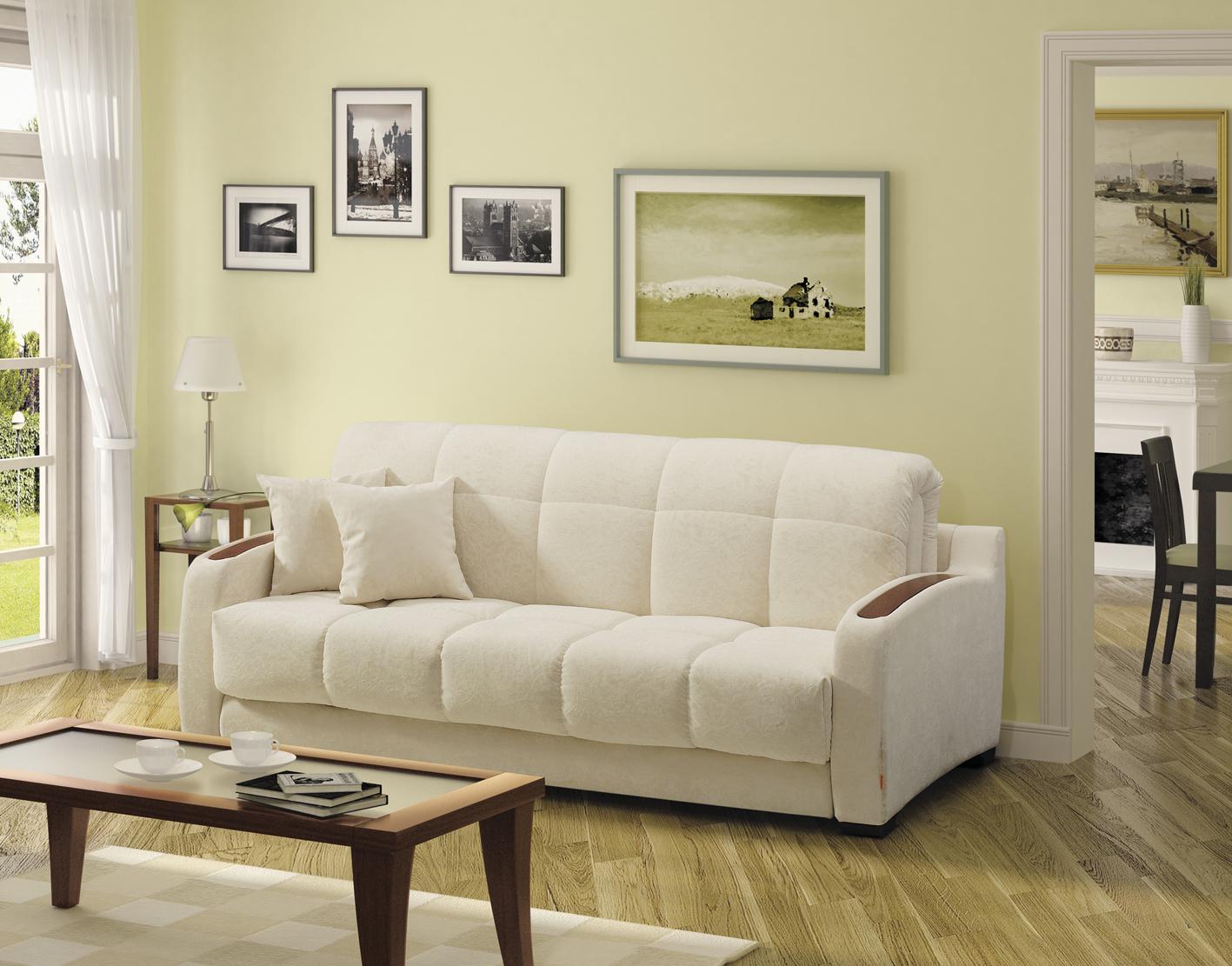 Белый диван с велюровой обивкой