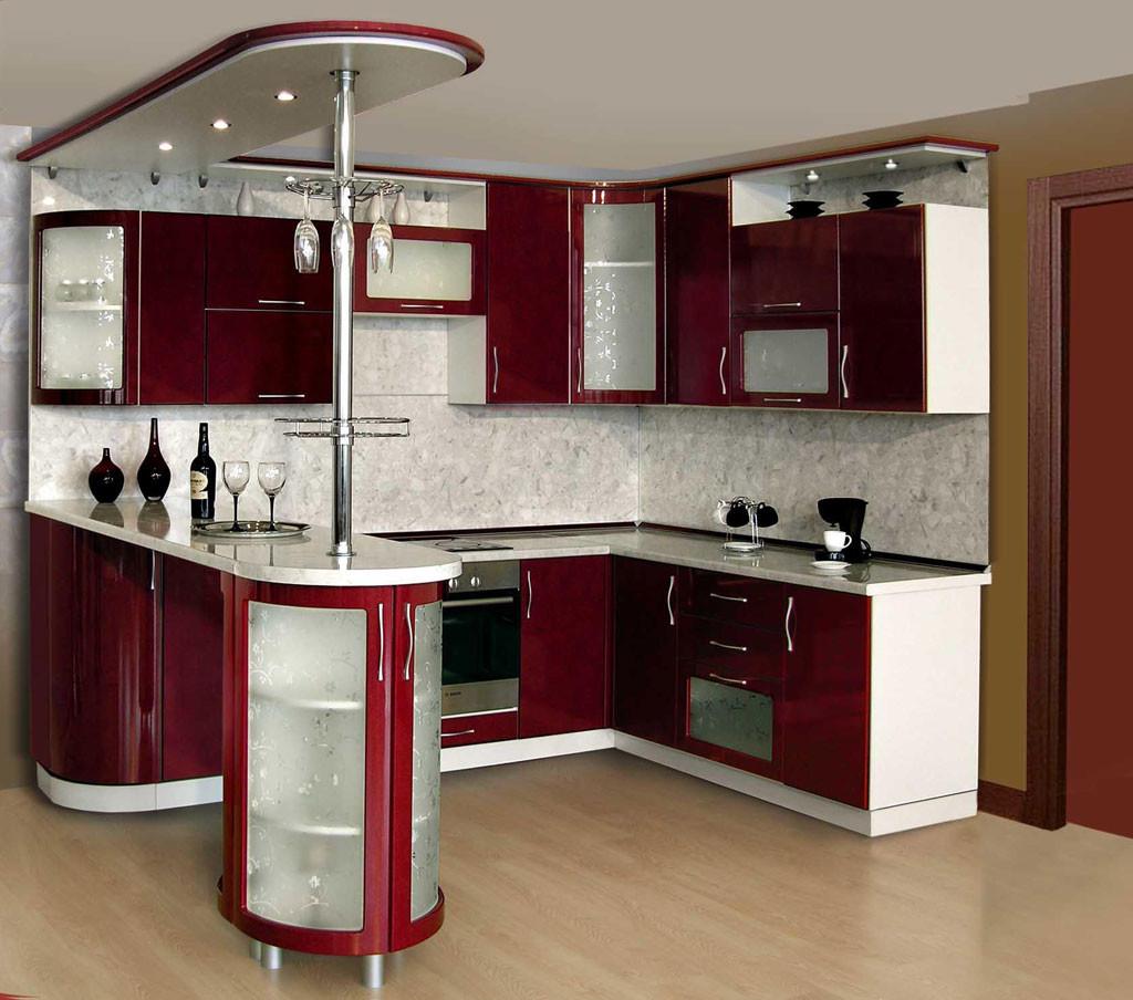 Бордовый кухонный гарнитур с барной стойкой