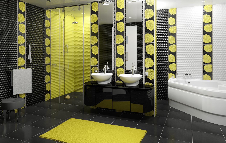 Желто-черная плитка в ванной комнате
