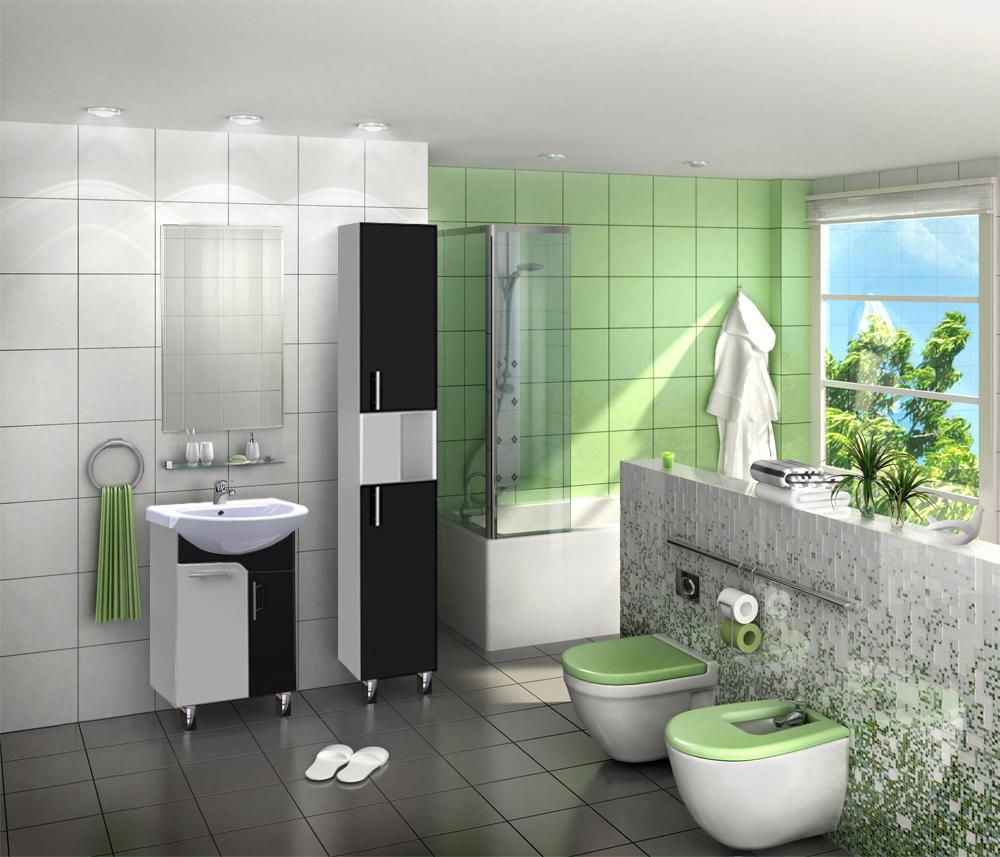 Черно-белый пенал для ванной