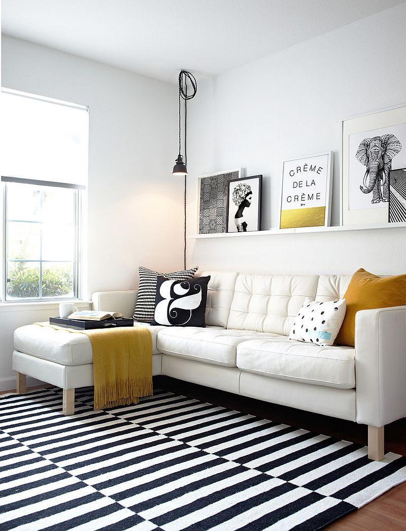 Черно-белый шерстяной ковер в интерьере