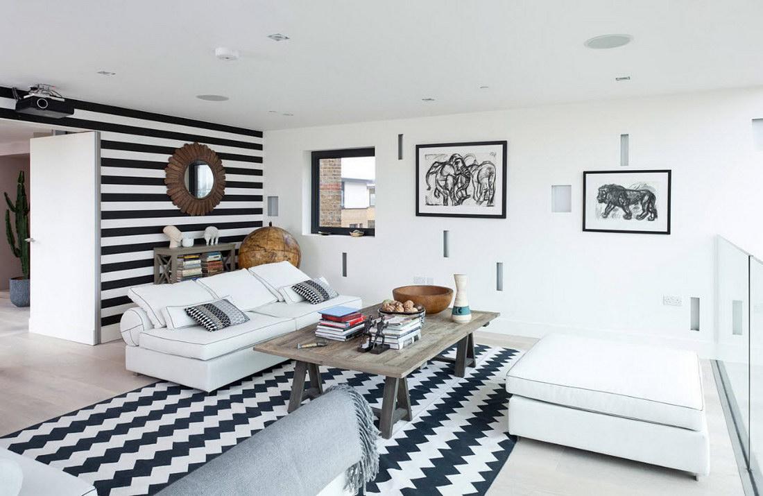 Черно-белый ковер в интерьере