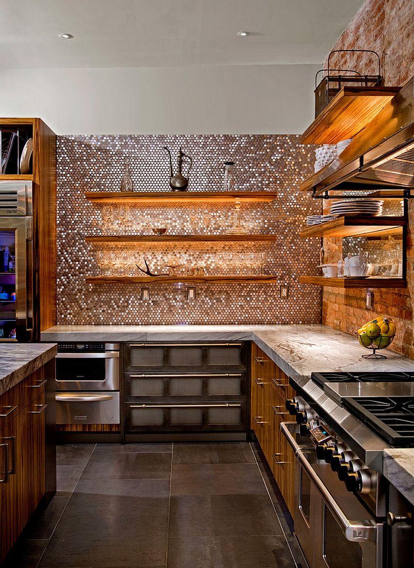 Шестиугольная мозаика на кухне