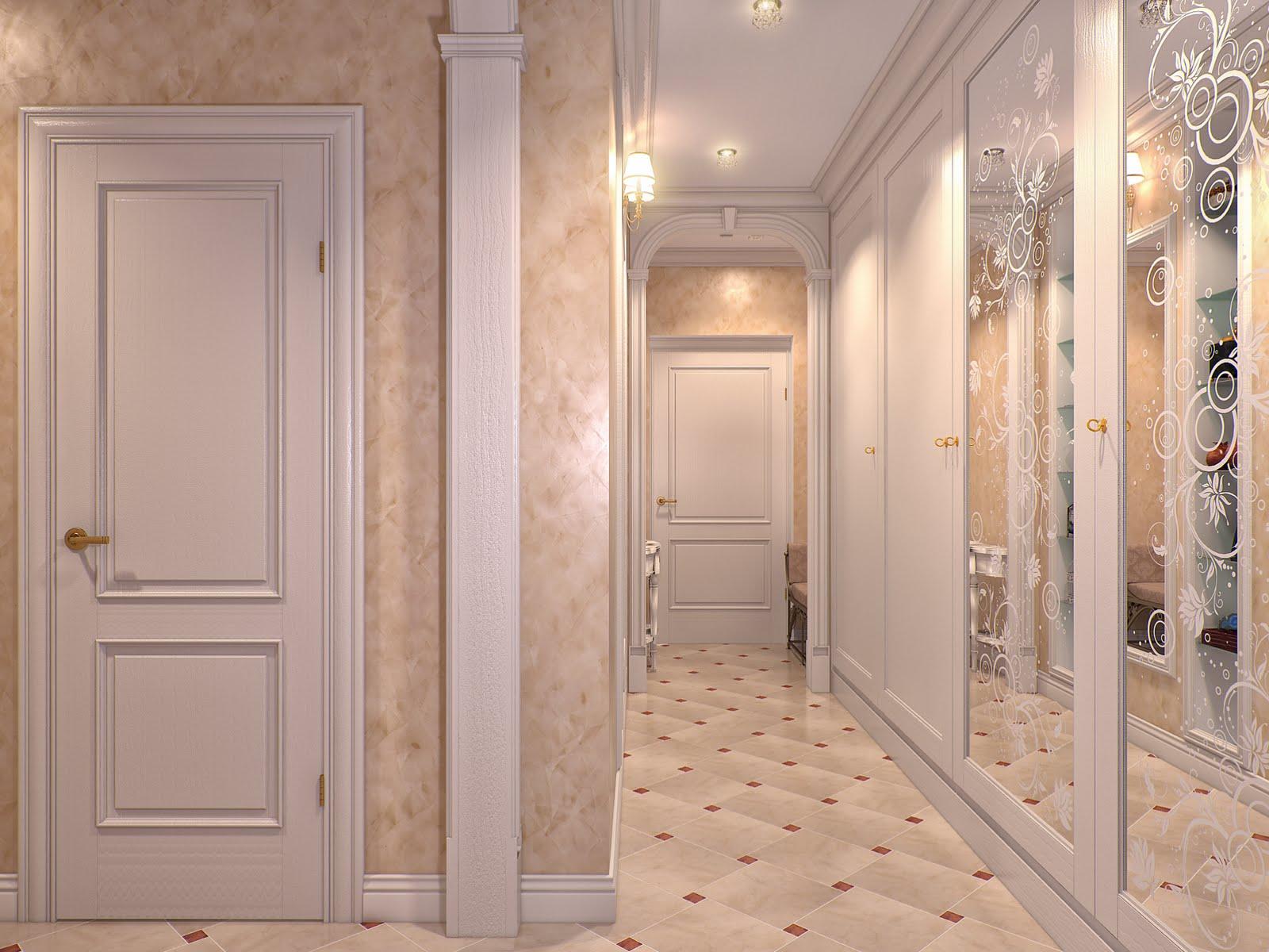 Декоративная штукатурка в коридоре в классическом стиле