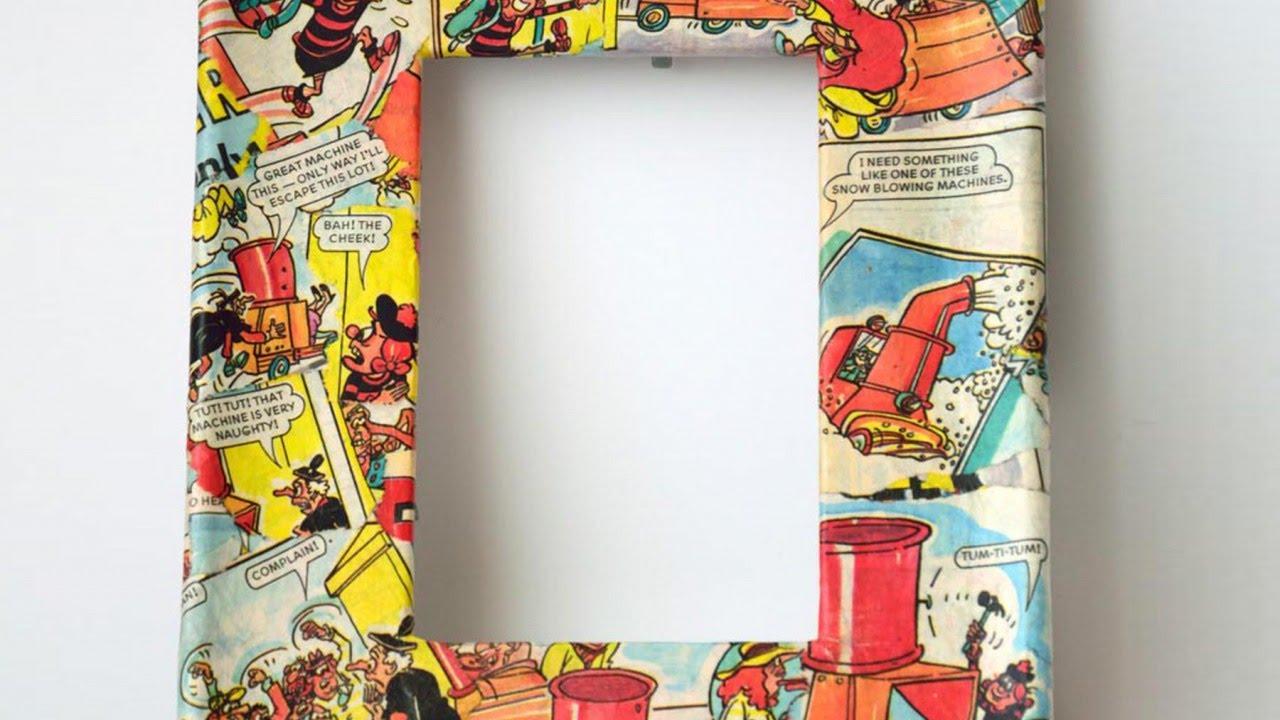 Декупаж рамки страницами из комиксов