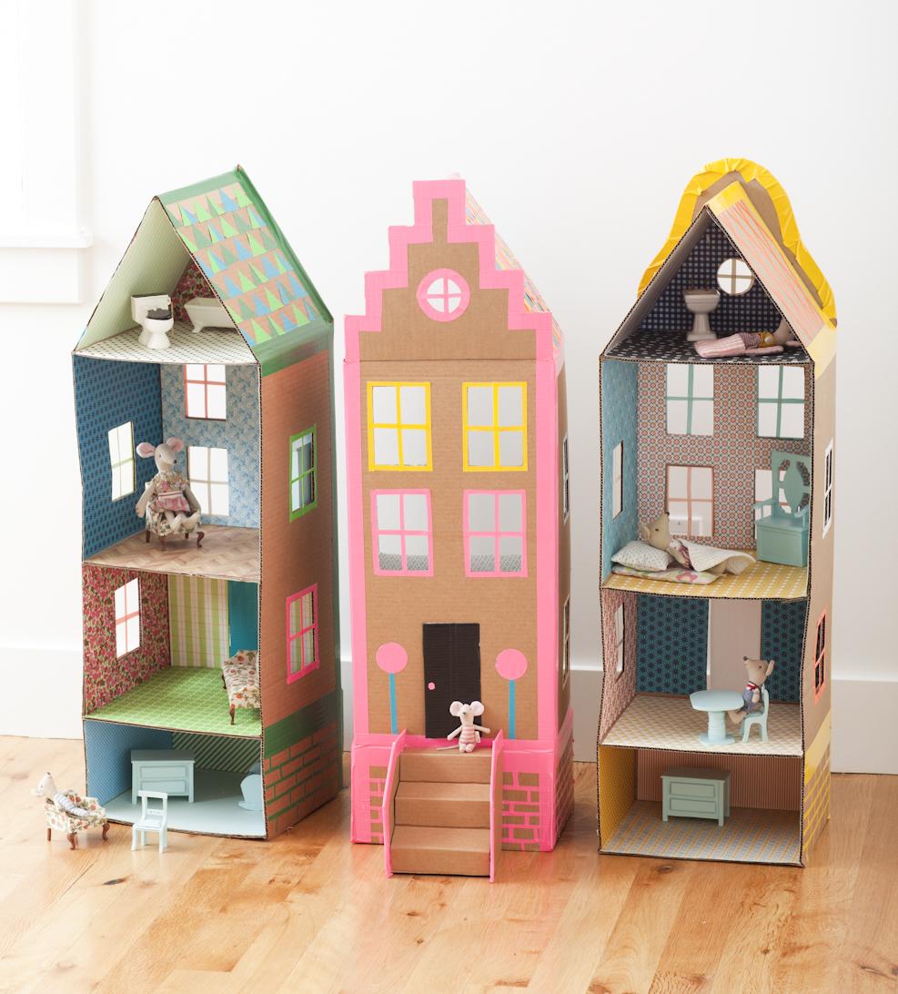 Мебель для кукольного домика из цветного картона