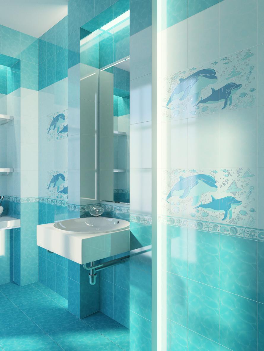 Голубая плитка с дельфинами