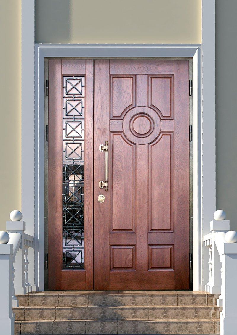 Декор входной двери из дерева