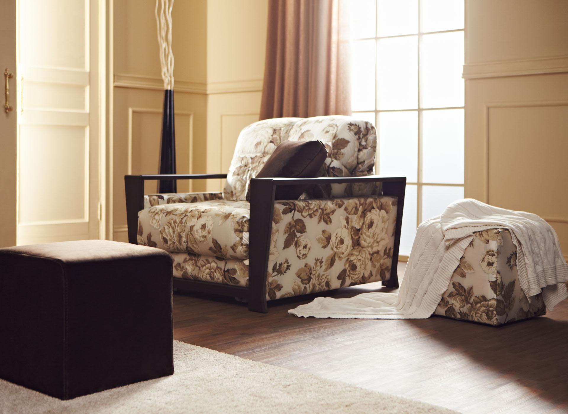 Кресло-кровать с деревянными подлокотниками