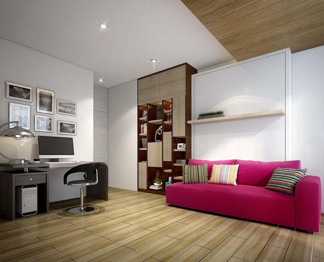 Малиновый диван в интерьере