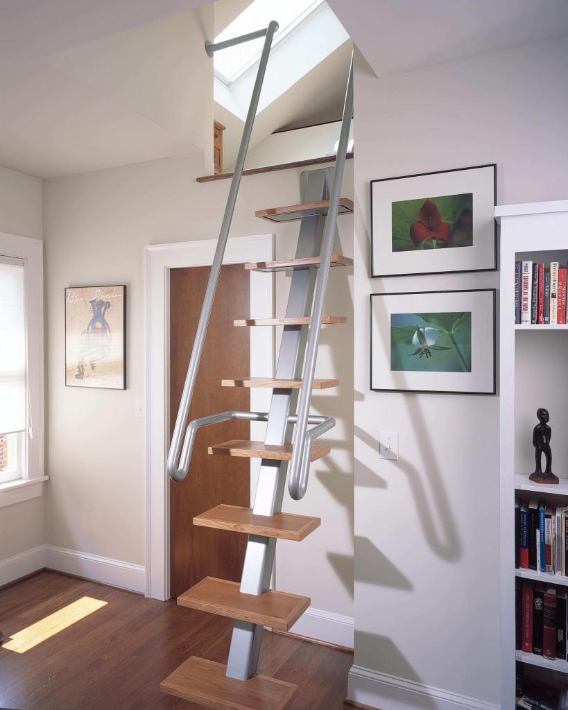 Чердачная лестница в оригинальном дизайне