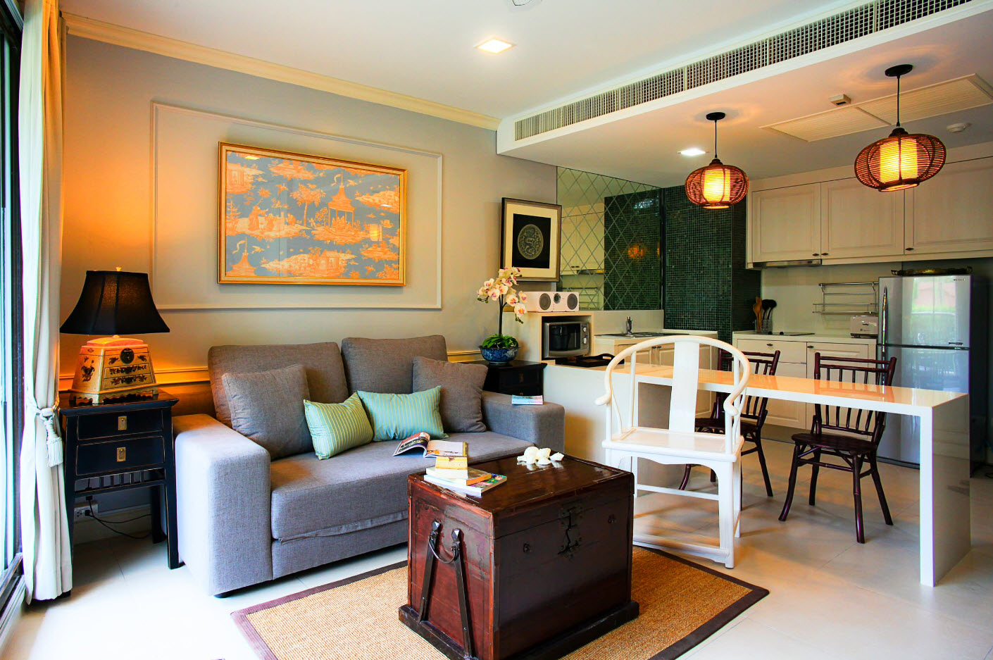 Перегородка между кухней и гостиной в эклектичном стиле