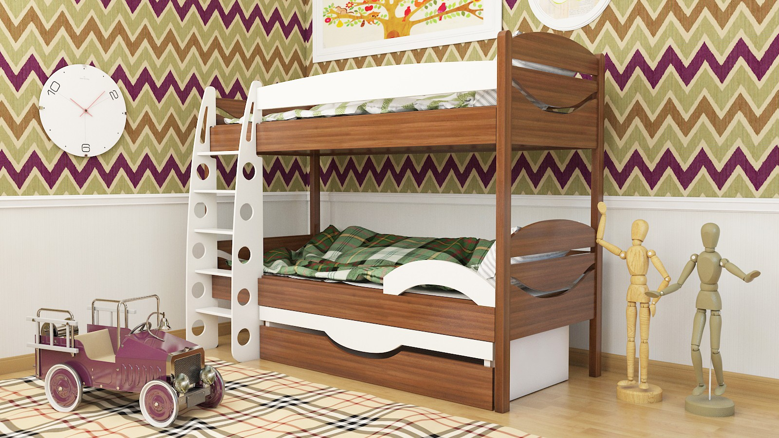 Двухэтажная детская кровать с бортиками