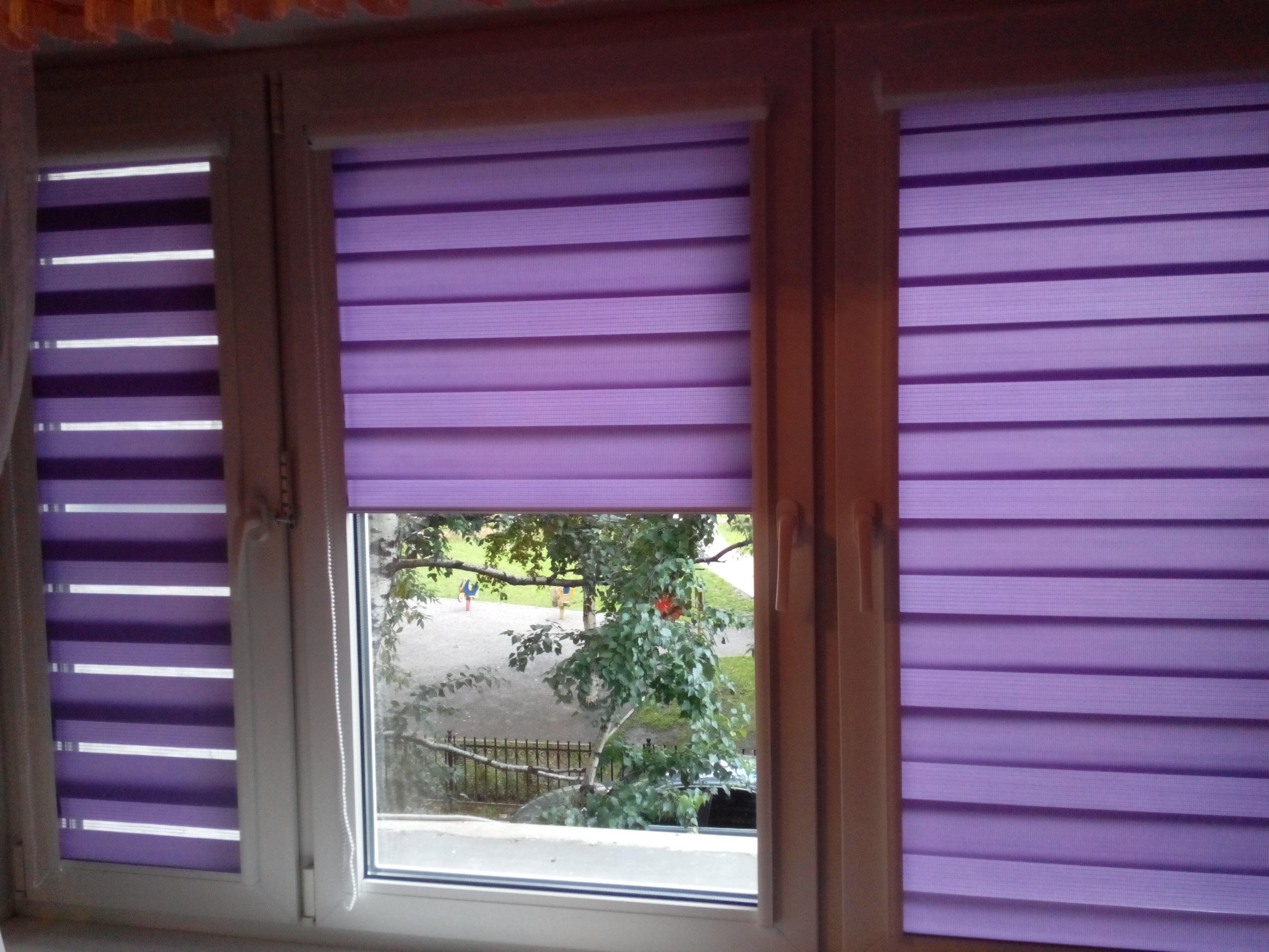 """Шторы """"день-ночь"""" фиолетового цвета"""