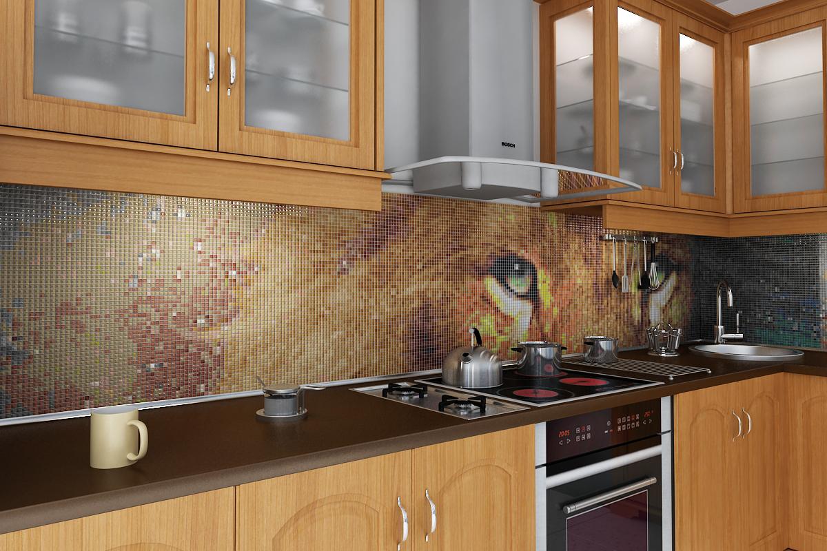 Фотопринт на мозаике на кухне