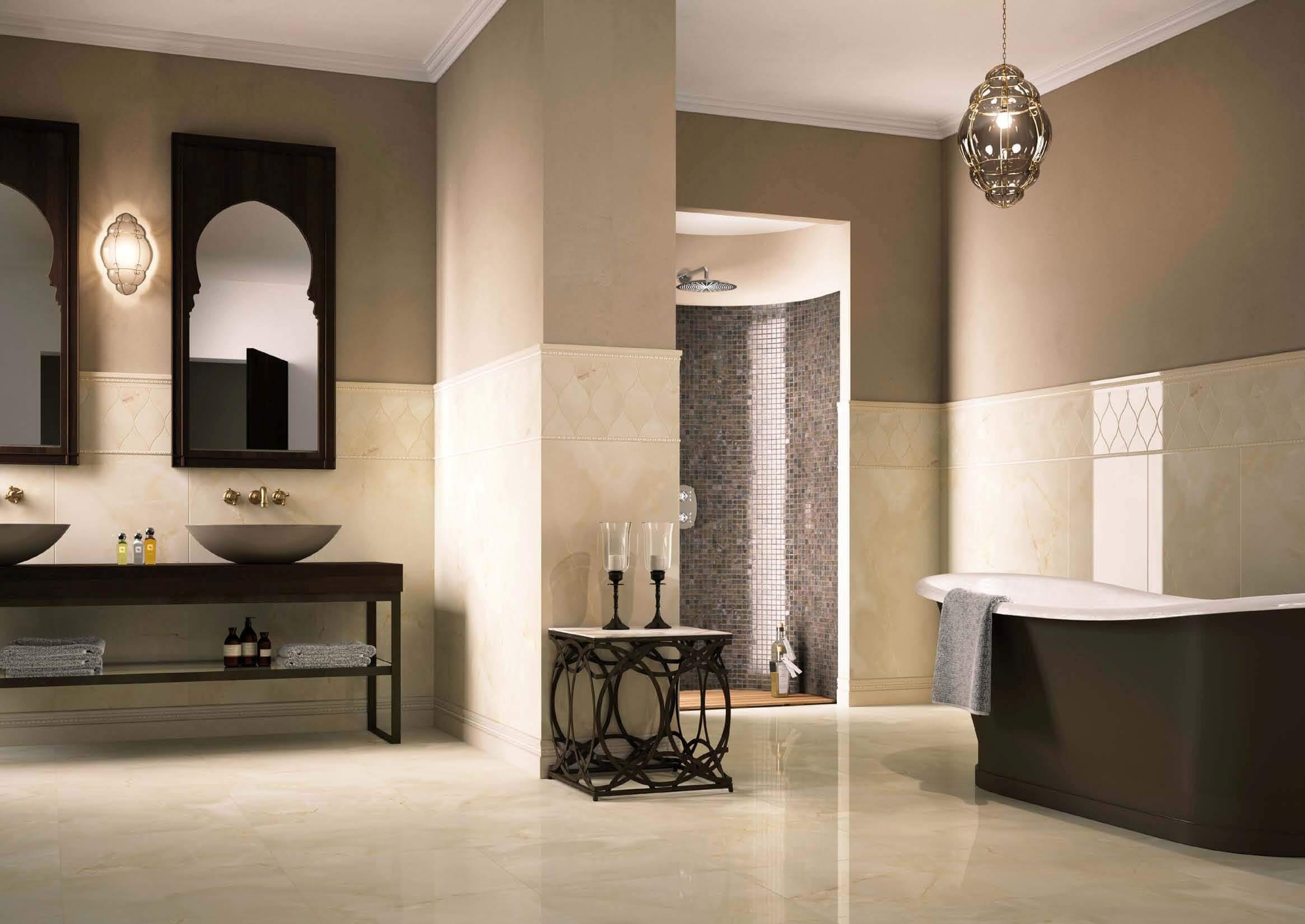 Керамогранит в ванной: нерушимая красота (21 фото)