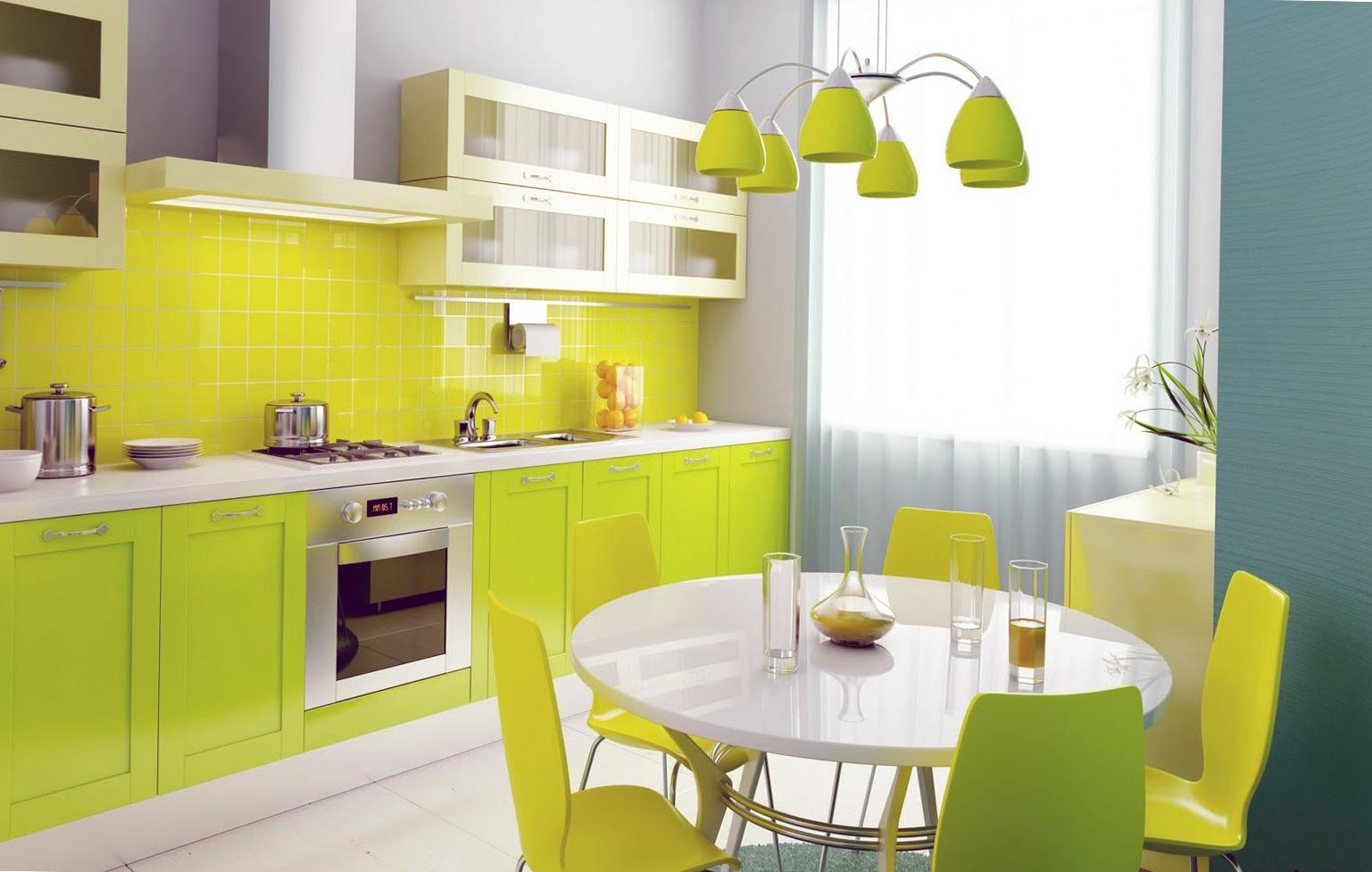 Желтая глянцевая плитка в интерьере кухни