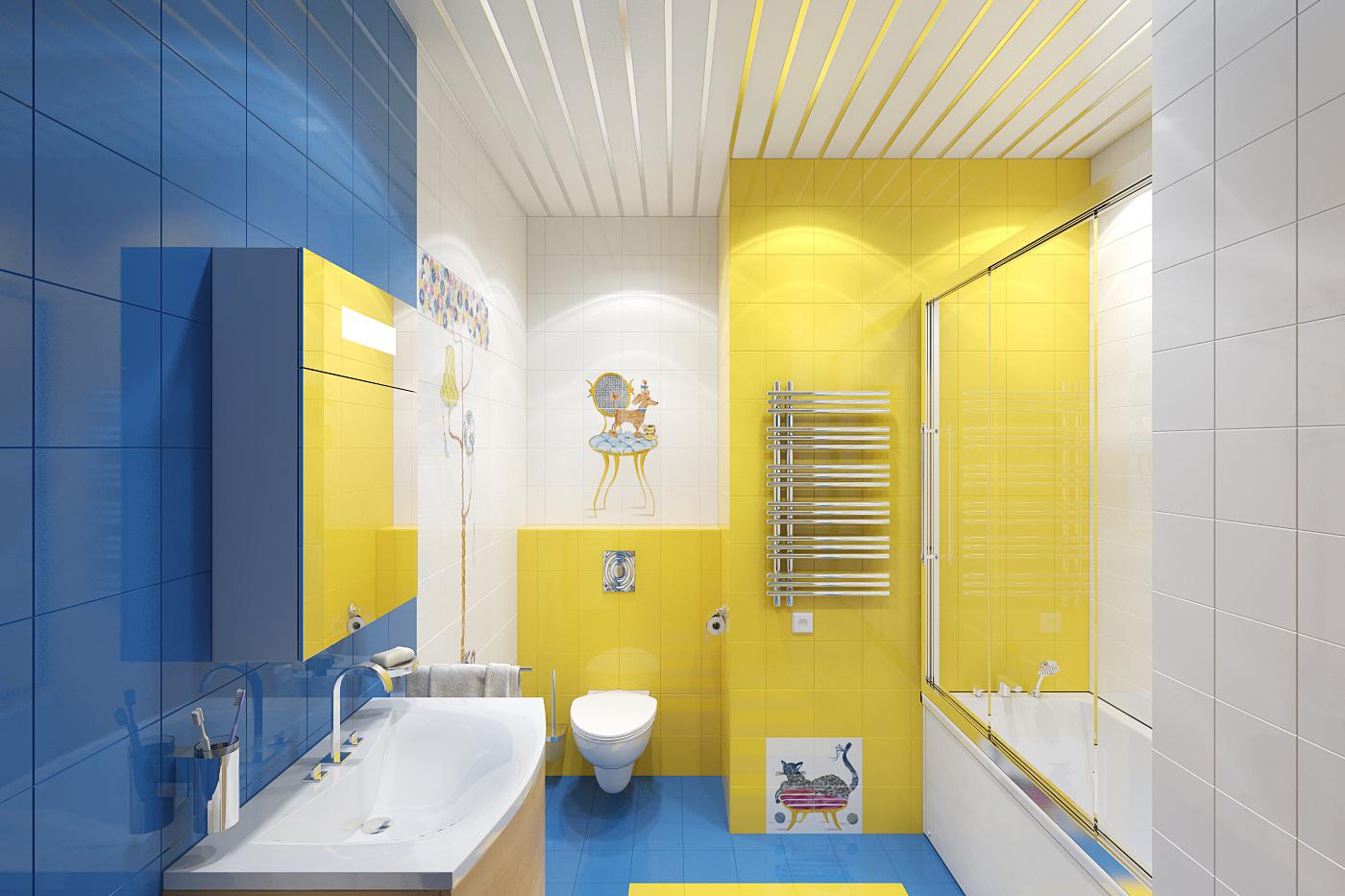 Желто-голубая плитка в интерьере ванной