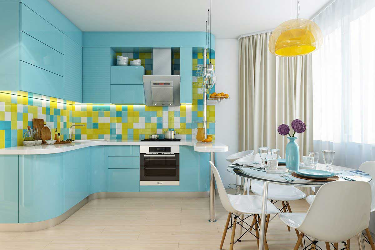 Голубая кухня с эркером